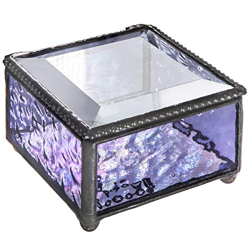 J Devlin Box 899 Purple Lavender Glass Keepsake Trinket Decorative Jewelry Box