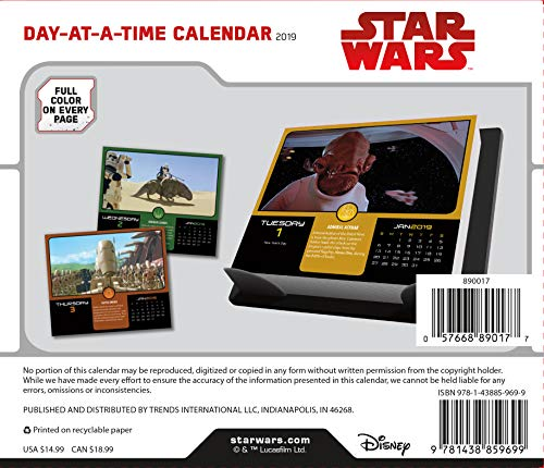 Star Wars 2019 Calendar, Box Edition Sticker Set - Deluxe Disney 2019 Star  Wars Day-at-a-Time Calendar with Over 100 Calendar Stickers (Star Wars