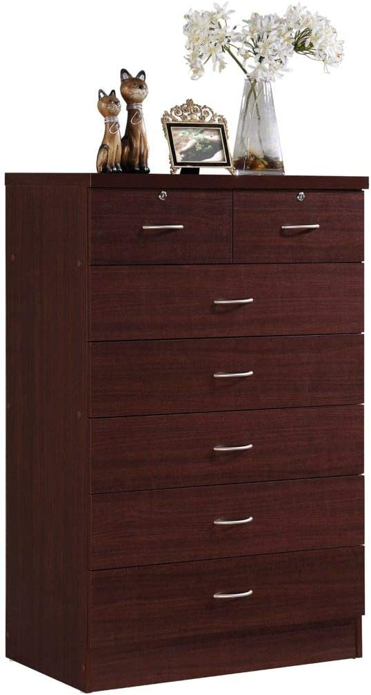 Hodedah 7 Drawer Chest, Five Large Drawers, Two Smaller Drawers with Two Locks, Mahogany