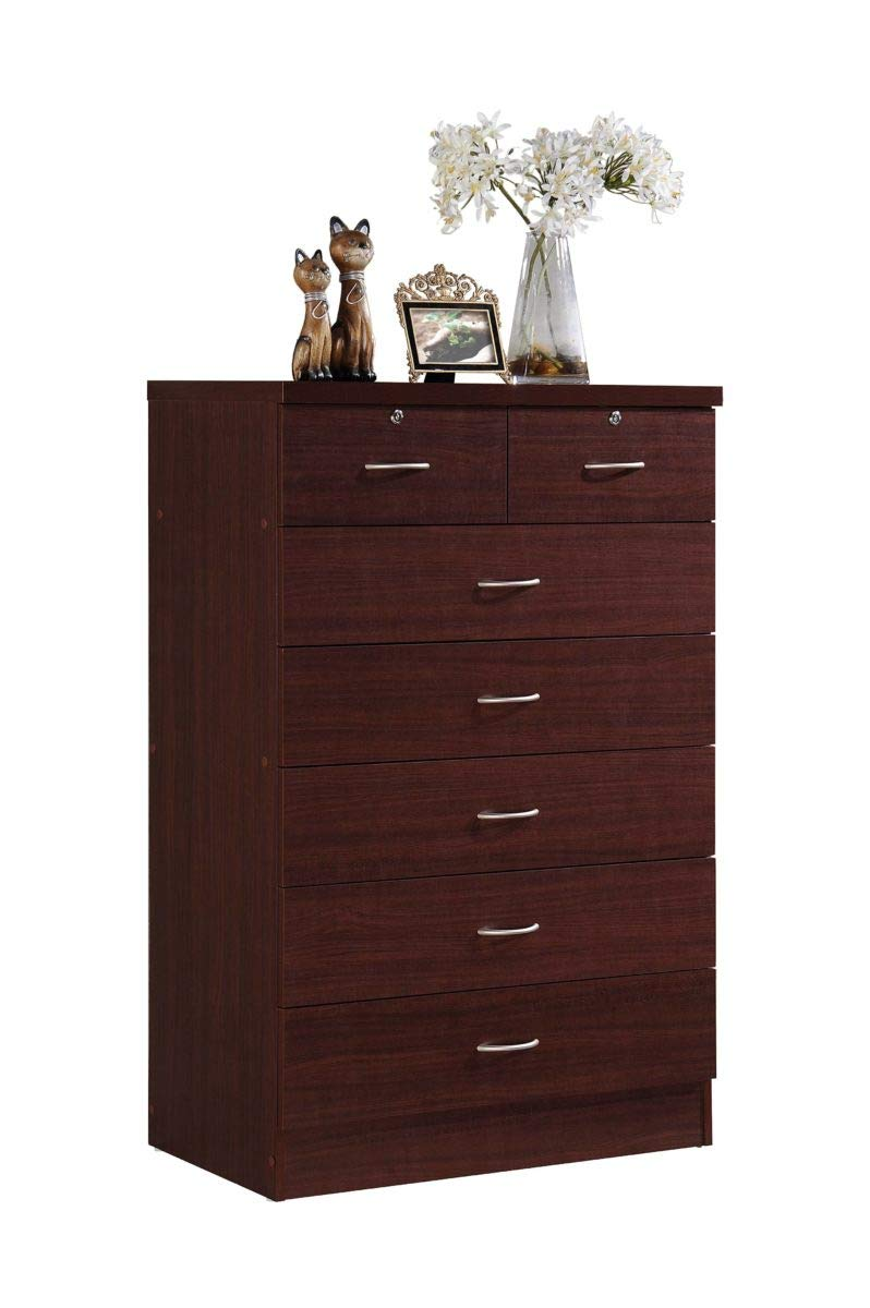 Hodedah 7 Drawer Chest, Five Large Drawers, Two Smaller Drawers with Two Locks, Mahogany by HODEDAH IMPORT