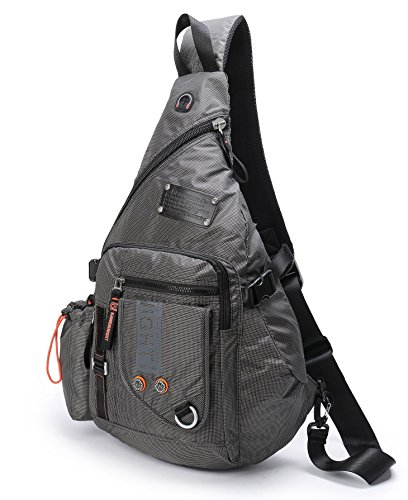 (DDDH Large Sling Bags Crossbody Backpack 14.1-Inch Chest Daypack Travel Bag Book Bag for Men&Women(Grey))