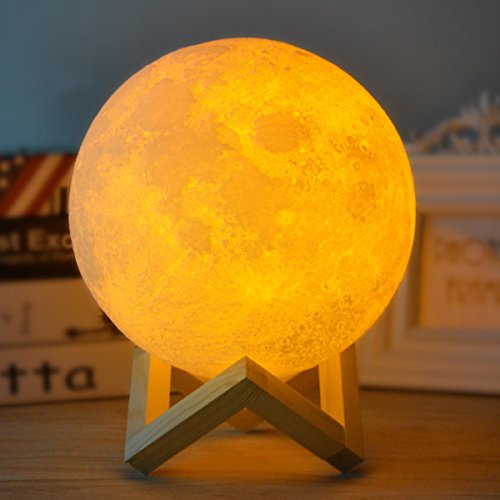 GZMAY Night Light 3D Printing Moon Lamp Touch Control with USB Charging,Stepless Dimmable, Warm and Cool White 2 Colors LED Perfect for Home Decor Birthday Gift Size 4.7 inch For Sale