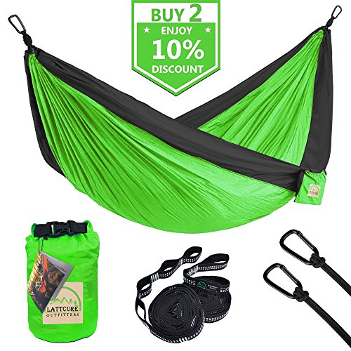 Christmas Trees Direct Uk - Double Camping Hammock, LATTCURE Lightweight Portable Hammock Parachute Nylon Fabric & 600LB High Capacity with 2 Adjustable Hanging Straps for Camping Backpacking Travel Beach Yard(Green+Black)