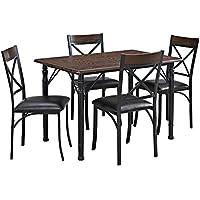 Dorel Living 5 Piece Dining Set, Espresso/Black
