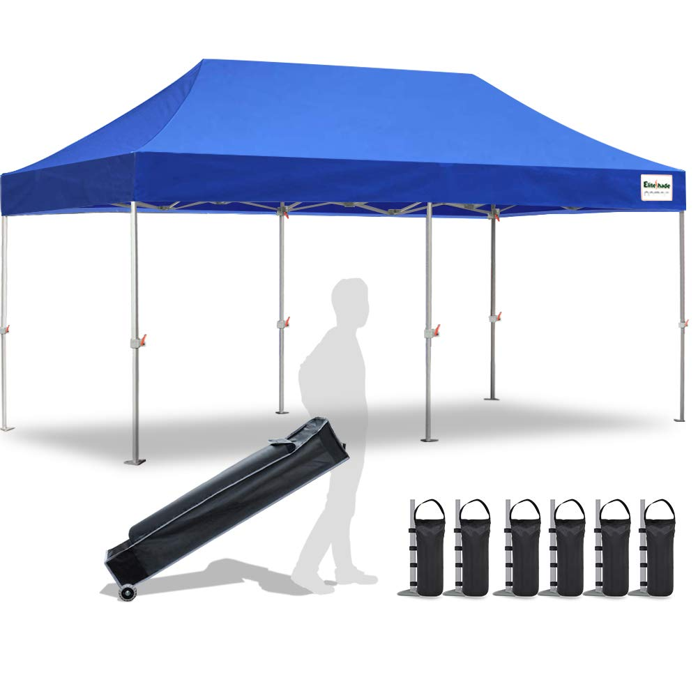 EliteShade 10 x20 Commercial Ez Pop Up Canopy Tent Instant Canopy Party Tent Sun Shelter with Heavy Duty Roller Bag,Bonus 4 Weight Bags,Royal Blue