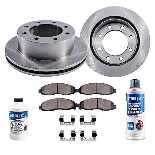 Detroit Axle - Pair (2) Front Disc Brake Rotors w/Ceramic Pads for 2003-2007 Ford E-250 - [2003-2005 E-350 Club Wagon] - 04-07 E-350 Super Duty - [95-02 E-250 Econoline] - 95-98 E-350 Econoline