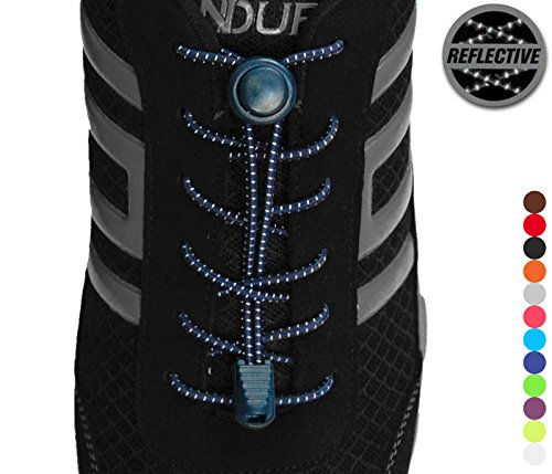 Stout Gears Reflective No Tie Shoelaces Lock System - Elastic Shoe Laces for Sneakers - 1 Pair (Navy Blue)
