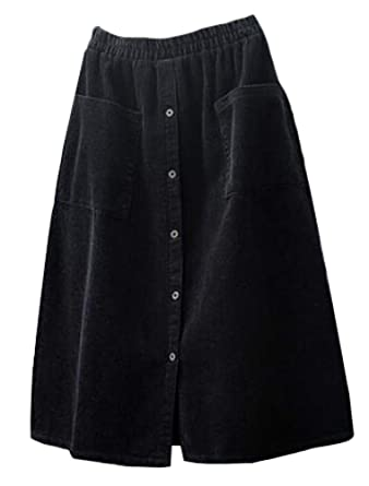 306b9775c31 Minibee Women s Corduroy Midi Skirt Front Split Buttons A-Line Dress Black M