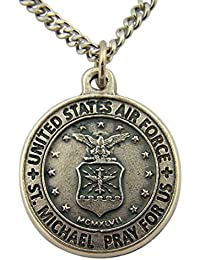 Silver Toned Base Saint Michael Pray for Us Armed Forces Medal, 7/8 Inch