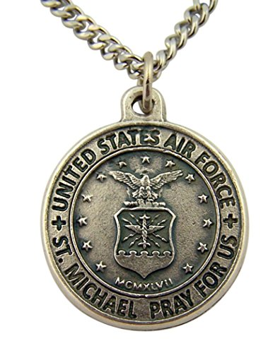 The Heritage Collection Silver Toned Base Saint Michael Pray for Us Armed Forces Medal, 7/8 Inch (Air Force)