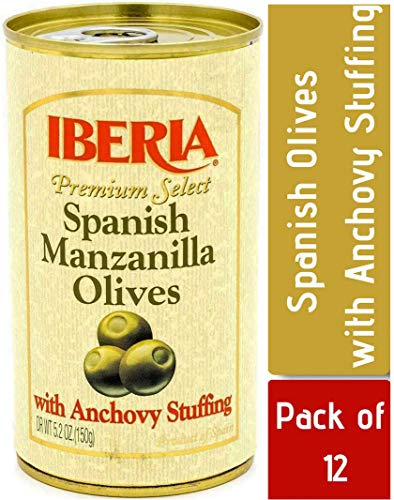 Iberia Manzanilla Olives Stuffed with Anchovies, 5.25 Ounce (Pack of 12), Premium Grade Large Olives from Spain Stuffed with Anchovy ideal for tapas, hors d'oeuvres or Olives for Martinis