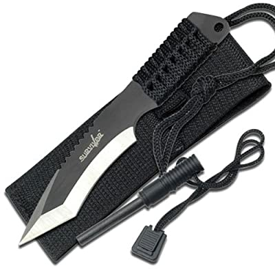 Survivor HK-759 Fixed Blade Knife, Two-Tone Tanto Blade, Black Cord-Wrapped Handle, 7-Inch Overall by Survivor