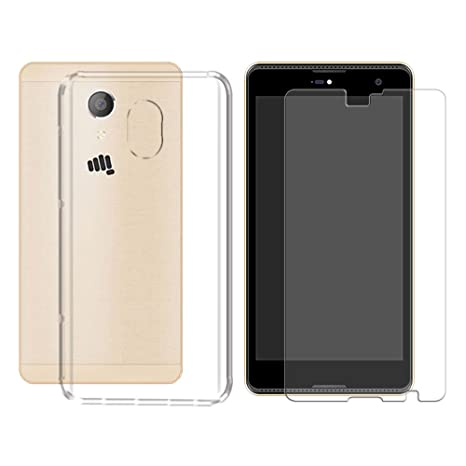 finest selection a28df 128fb Deltakart Soft Back Cover for Micromax Canvas Fire 5 Q386 with Tempered  Glass