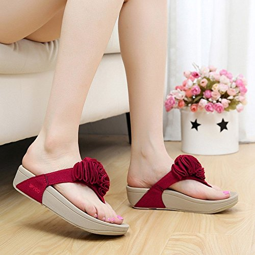 pantofole pantofole EU36 confortevole Colore EU36 gomma 5 rosa piattaforma tacco rosso CN35 estate UK4 rosso informale UK3 Dimensioni CN36 elegante Donna LISABOBO f0wU55