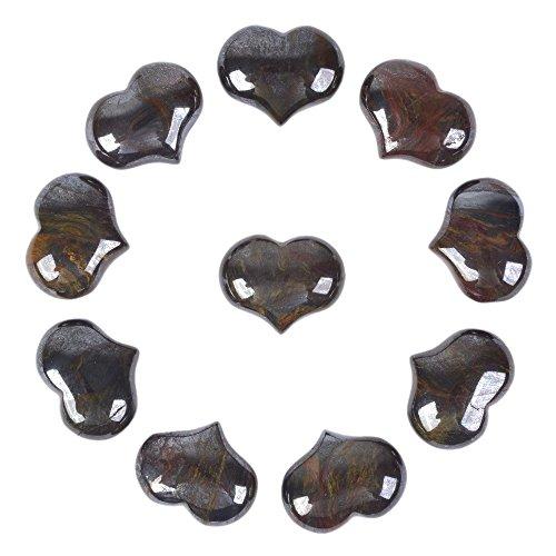 Justinstones Natural Tiger Iron Gemstone Healing Crystal 1 inch Mini Puffy Heart Pocket Stone Iron Gift Box (Pack of 10)