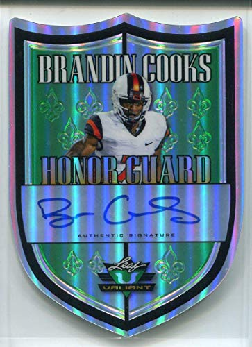 Brandin Cooks AUTO RC 2014 Leaf Valiant Honor Guard Rookie Autographed Football Trading Card Shield #HG-BC1 New Orleans Saints LA Rams