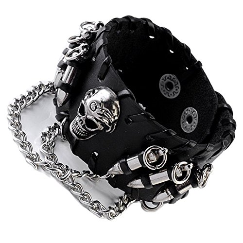 JOVIVI Punk Pu Leather Skull Design Bracelet Wristband Adjustable Size 7 to 8 Inches Include a Gift Pouch(#10)
