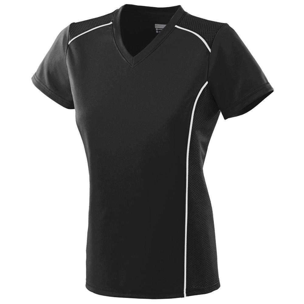 Augusta Sportswear SHIRT レディース B00HU3WO5O Large|ブラック/ホワイト ブラック/ホワイト Large