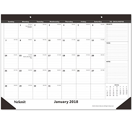 Nekmit Monthly Desk Pad Calendar, January 2018 - December 2018, 21-3/4