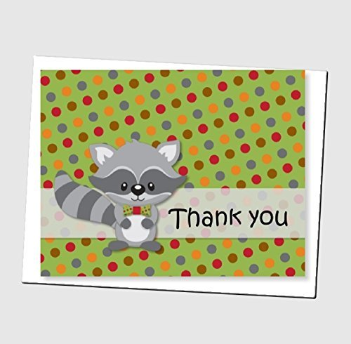 Woodland Raccoon Thank You Cards and Envelops (Set of 12) - Baby Shower or Birthday Party