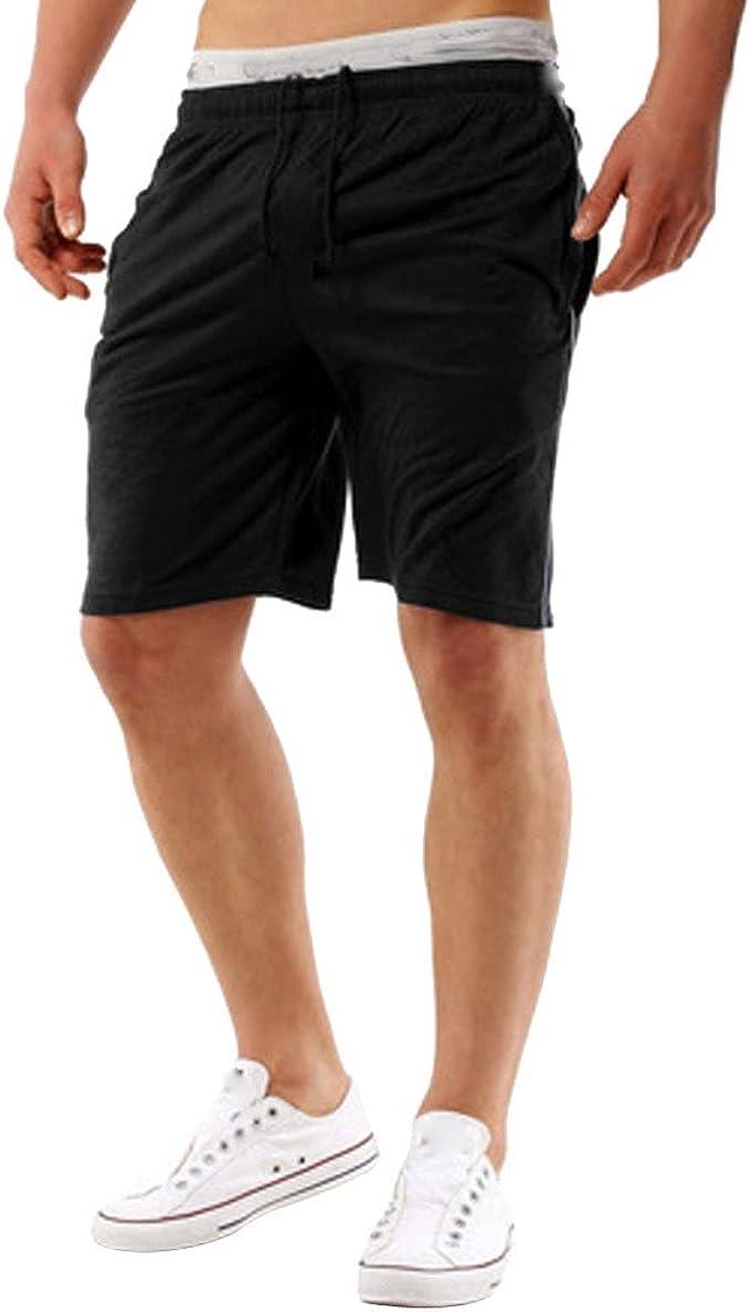 MVPKK Pantalones Cortos de Algodón Hombre Color Sólido Pantalones ...