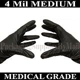 ''PSBM'' Black Nitrile Disposable Glove 4 Mil Medical Exam Powder-Free Gloves for Size: Medium (2000, Medium)