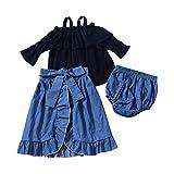 3Pcs/Set Girl Off-Shoulder Long-Sleeved Top+Lace Denim Skirt+PP Shorts(100cm)