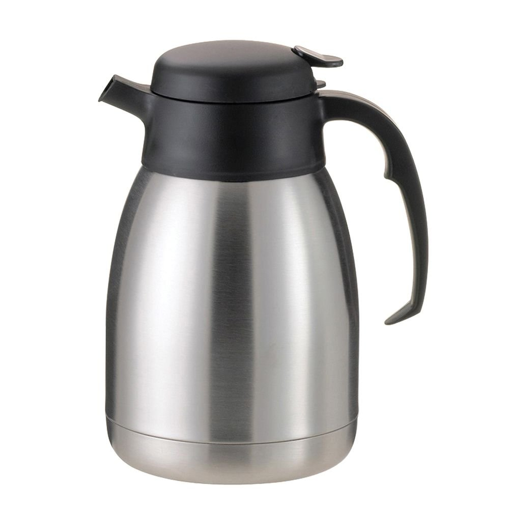 Service Ideas FVP20 SteelVac Carafe, Vacuum Insulated, 2.0 Liter (67.6 oz.), Brushed Stainless/Black Accents