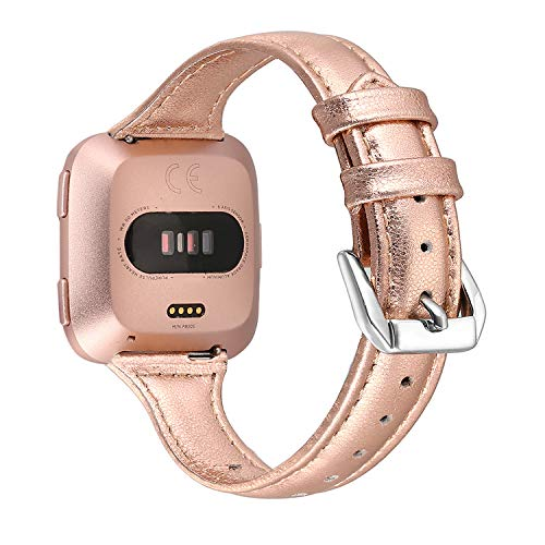 bayite Bands Compatible Fitbit Versa, Slim Genuine Leather Band Replacement Accessories Strap Women (Rose Gold, 5.3