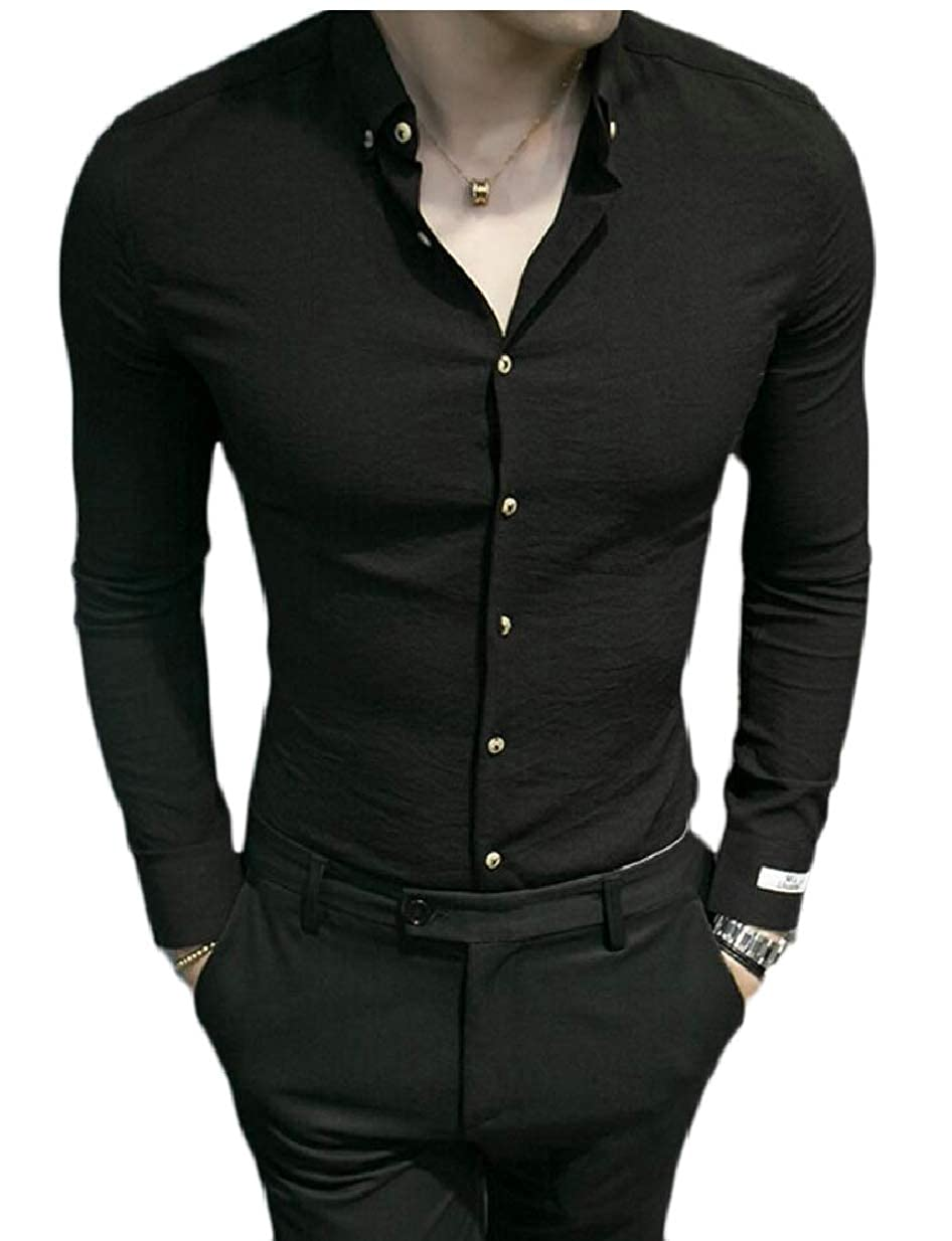 desolateness Men Solid Long Sleeve Shirt Tops Casual Slim Fit Business Dress Shirt