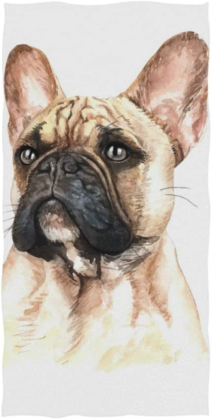 DOMIKING French Bulldog Watercolor Printing Print Soft Hand Towels for Bathroom Decorative Guest Towels fingertip Towels for Hotel Spa Gym,16 x 30 inches