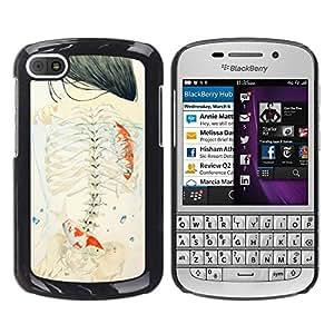 Caucho caso de Shell duro de la cubierta de accesorios de protección BY RAYDREAMMM - BlackBerry Q10 - Deep Girl Emo Meaning Art