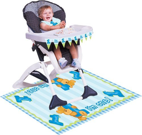 First Birthday Decoration Set (Color: Blue, Theme: Teddy Bear) Includes Large Mat, Cute Bib & Pennant Banner