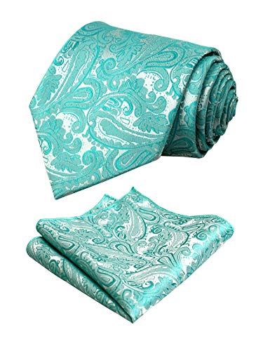 Men's Paisley Floral Tie Handkerchief Wedding Woven Necktie Set, Green Turquoise