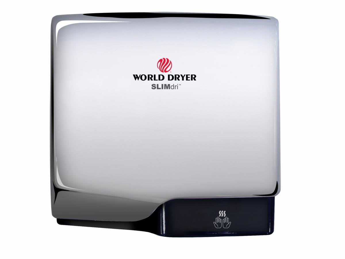 Slimdri World Dryer L-970 Polished Chrome ADA Compliant Hand Dryer, High Speed, Electric, 110-240 Volt, Cool or Warm Air Option, Energy Efficient, Fast 10-15 Second Dry Time, 10 Year Warranty