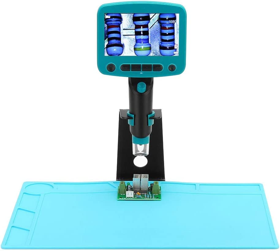 Monkibag Digital Microscope 4.3 Inch LCD Screen 800X 5.0MP HD Portable USB Digital Microscope with Metal Stand Heat Resistant Silicone Pad Color : Blue, Size : One Size