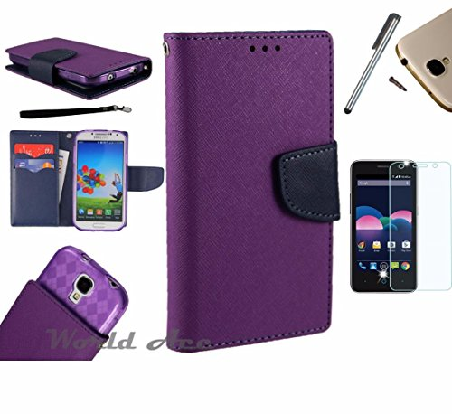 Photo - For Microsoft Lumia 550 Phone Case PU Leather Flip Cover Folio Book Style Pouch Card Slot Wallet + [WORLD ACC®] LCD Screen Protector+ Stylus (Purple/Navy Blue)