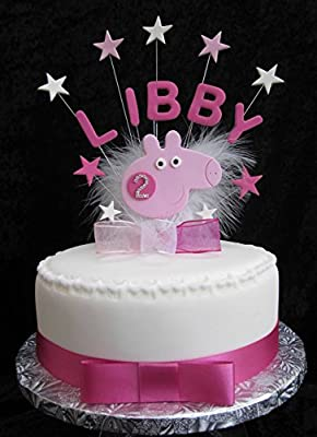 Cool Personalised Peppa Pig Birthday Cake Topper With Diamante Age Any Funny Birthday Cards Online Overcheapnameinfo