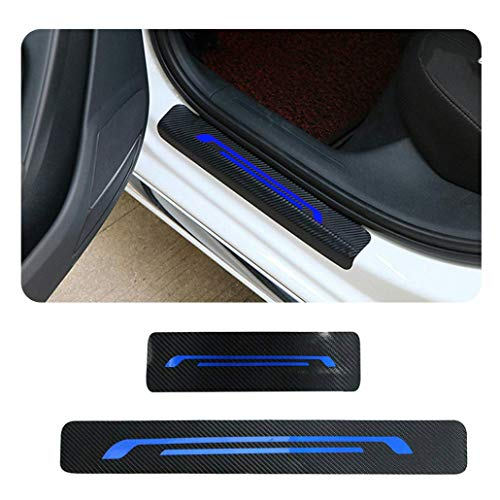 (MyGone for Nissan 350Z 370Z Altima Juke Lannia 4Pcs Car Door Sill Protector, 3D Reflective Carbon Fiber Vinyl Scuff Plate Guards Protective Anti-Scratch Waterproof Sticker Blue)