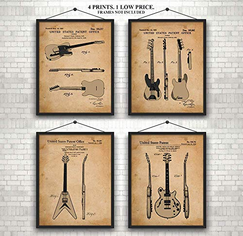 Original Guitar Patent Prints 1951-1976 - Awesome Set of 4 (unframed 8 x 10)- A Great Gift for Guitarists, Band Members or A Practice Room Wall - Art Wall Decor - 8 x 10