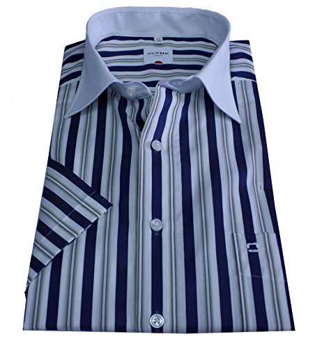 Olymp Hemd Luxor, Halbarm, modern fit, blau/beige/weiß gestreift Gr. 43