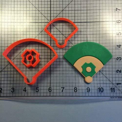 Zoomy Far: Sport Series Cookie Cutter set Fondant Cupcake Top Baseball glove Cap Filed Cake Decorating Tools Custom Made 3D Printed Mold: field3 inch N0868 ()