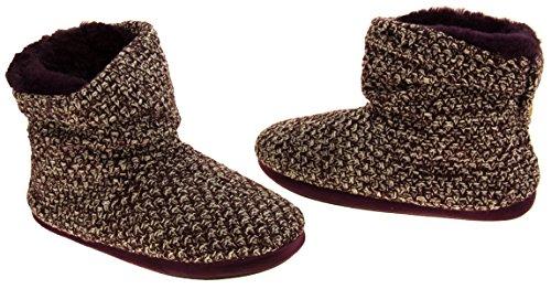 51FcQcheXnL - Coolers Womens Plum Warm Knitted Winter Fur Lined Slipper Boots 9-10 B(M) US