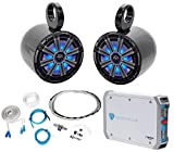 Pair KICKER 45KM84L 8' 600 Watt Marine LED Wakeboard Speakers+Amplifier+Amp Kit