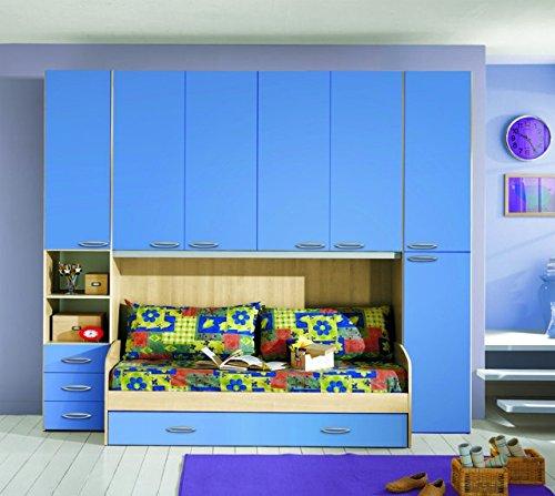 Kinderzimmer-Schrankwand in Buche und hellblau mit integriertem Doppelbett