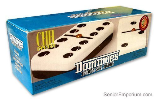 Black And White Double 6 Two Tone Jumbo Domino Tiles with Spinner
