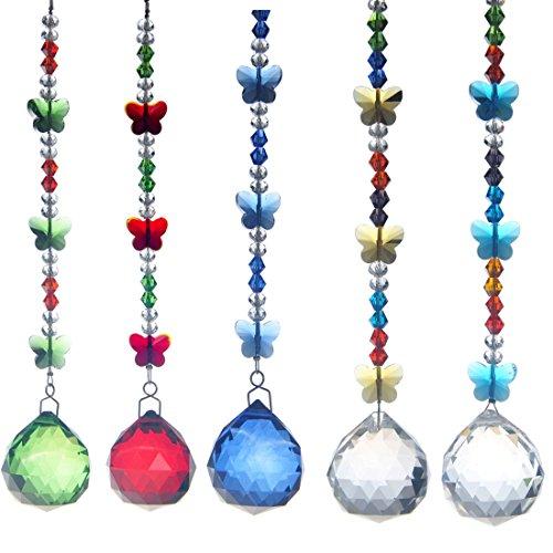 Garden Butterfly Suncatcher - H&D 30mm Crystal Ball Chandelier Prism Butterfly Ornaments Hanging Suncatcher (5pcs Set)