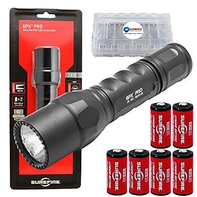 Surefire 6PX Pro 600 Lumen Dual-Output LED Flashlight w/ 4x Extra CR123A Batteries and Lightjunction Battery Case