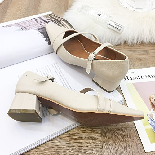Dance Heels Fashion for Pointed High apricot Party QZUnique PU Shoes Women's Toe Ladies' AqSIP