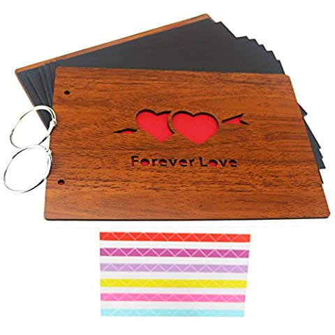 Ogrmar Vintage Wood DIY Photo Album Hollow Anniversary Scrapbook Forever Love Style 8